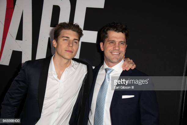 Actor Nolan Gerard Funk and director Jeff Wadlow attend the premiere of Universal Pictures 'Blumhouse's Truth Or Dare' at ArcLight Cinemas Cinerama...