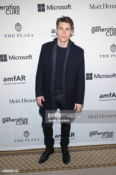Actor Nolan Gerard Funk attends 2015 amfAR generationCURE Holiday Party at Oak Room on December 3 2015 in New York City