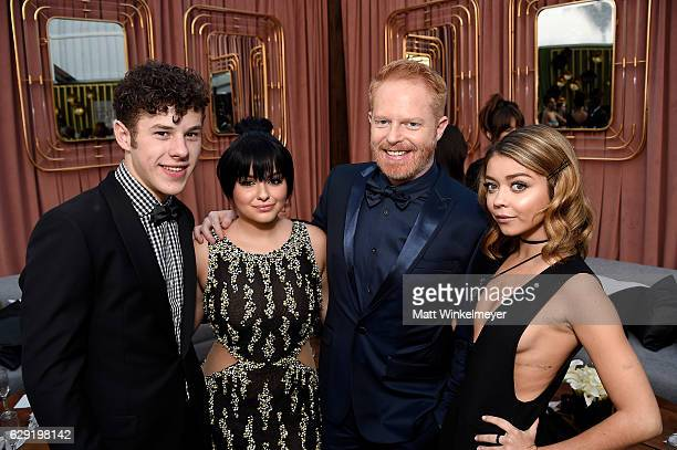 Actor Nolan Gould actress Ariel Winter actor Jesse Tyler Ferguson and actress Sarah Hyland attend The 22nd Annual Critics' Choice Awards at Barker...