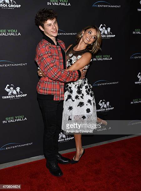 """Actor Nolan Gould and actress Sarah Hyland arrive at the Los Angeles premiere of """"See You In Valhalla"""" at the ArcLight Cinemas on April 21, 2015 in..."""