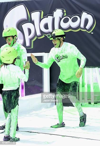 Actor Nolan Gould James Marsden's daughter Mary and James Marsden attend Celebrity Nintendo Splatoon Mess Fest on May 15 2015 in Santa Monica...
