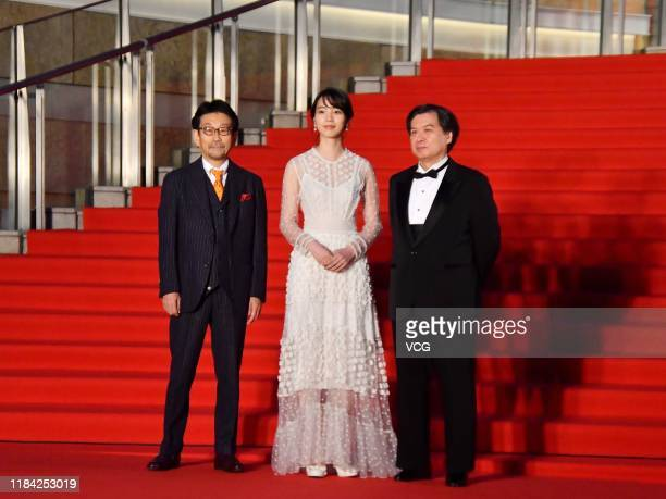 Actor Non and film director Sunao Katabuchi arrive at the opening ceremony of Tokyo International Film Festival 2019 at Roppongi Hills on October 28...