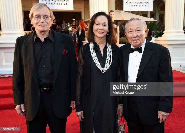 Actor Norbert Meisel honoree Nancy Kwan and Dr Lawrence KW Tseu arrive at the 8th Annual Hawaii European Cinema Film Festival Gala at Moana Surfrider...