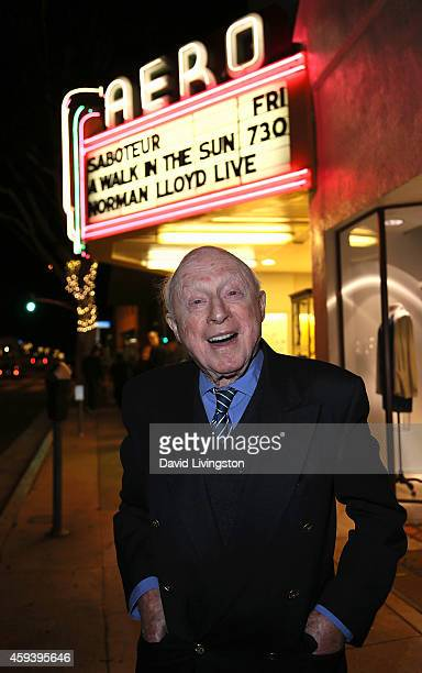 Actor Norman Lloyd attends the American Cinematheque film series 100 Years of Norman Lloyd QA at the Aero Theatre on November 21 2014 in Santa Monica...