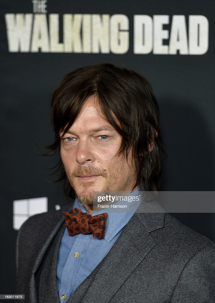 Actor Norman Reedus arrives at the premiere of AMC's 'The Walking Dead' 4th season at Universal CityWalk on October 3, 2013 in Universal City, California.