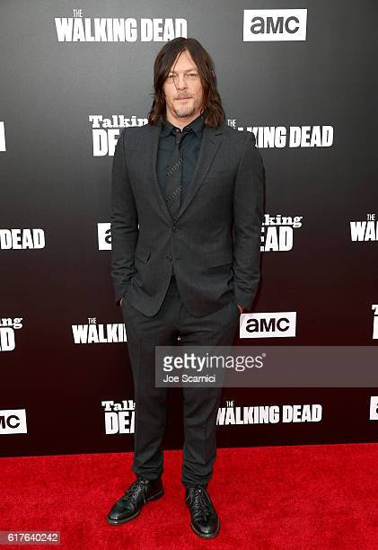 Actor Norman Reedus attends AMC presents 'Talking Dead Live' for the premiere of 'The Walking Dead' at Hollywood Forever on October 23 2016 in...