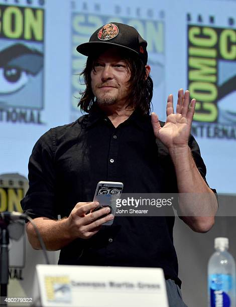 Actor Norman Reedus attends AMC's 'The Walking Dead' at ComicCon 2015 on July 10 2015 in San Diego California