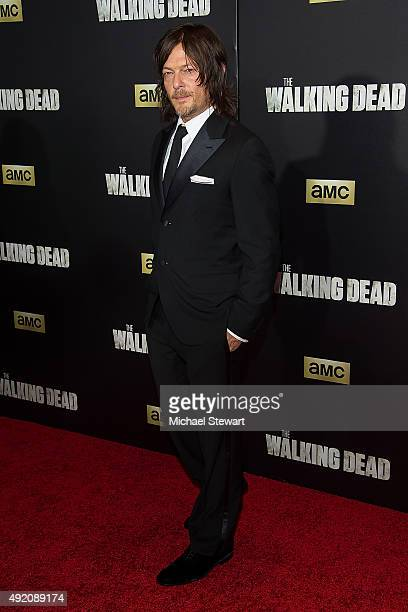 Actor Norman Reedus attends 'The Walking Dead' season six premiere at Madison Square Garden on October 9 2015 in New York City