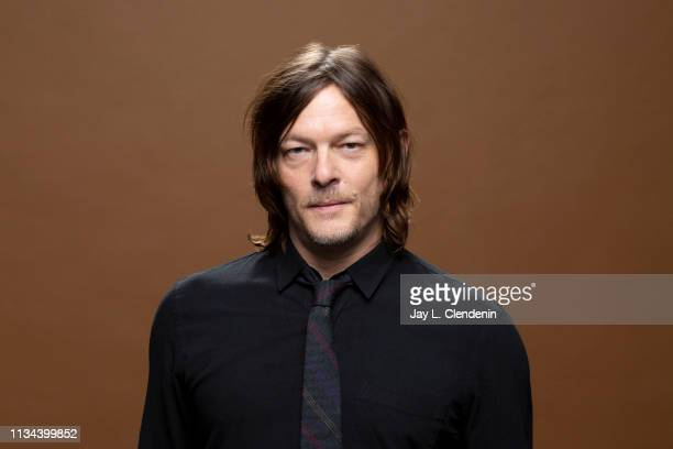 Actor Norman Reedus from 'The Walking Dead' is photographed for Los Angeles Times on March 22 2019 during PaleyFest at the Dolby Theatre in Hollywood...