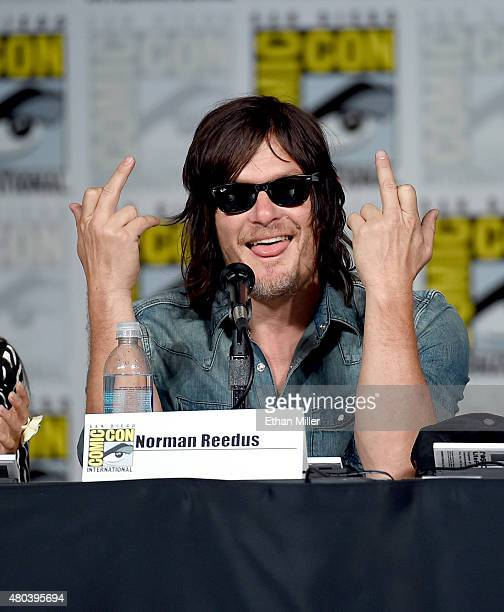 Actor Norman Reedus speaks onstage at the TV Guide Magazine Fan Favorites panel during ComicCon International 2015 at the San Diego Convention Center...