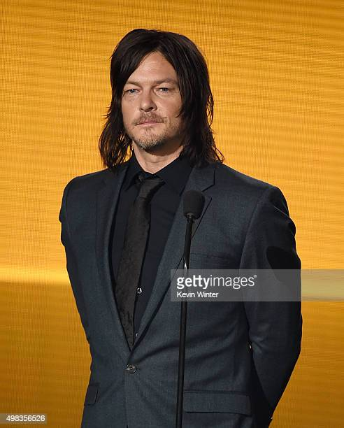 Actor Norman Reedus speaks onstage during the 2015 American Music Awards at Microsoft Theater on November 22 2015 in Los Angeles California
