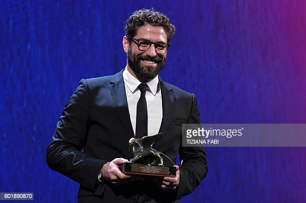 "Actor Nuno Lopes receives the Special Orizzonti Award for best actor in the movie ""Sao Jorge"" during the awards ceremony of the 73rd Venice Film..."
