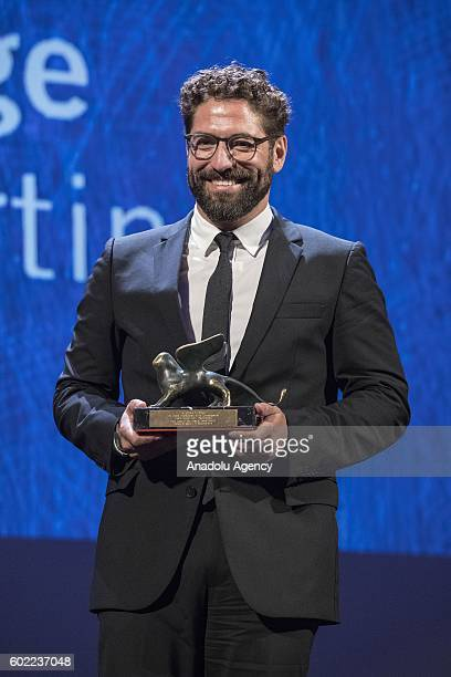 Actor Nuno Lopes wins Orizzonti Awards Best actor for the movie Sao Jorge during 73rd Venice Film Festival at Palace of Casino in Venice Italy on...