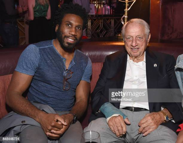 Actor Nyambi Nyambi and baseball Hall of Famer Tommy Lasorda at the Heroes for Heroes: Los Angeles Police Memorial Foundation Celebrity Poker...