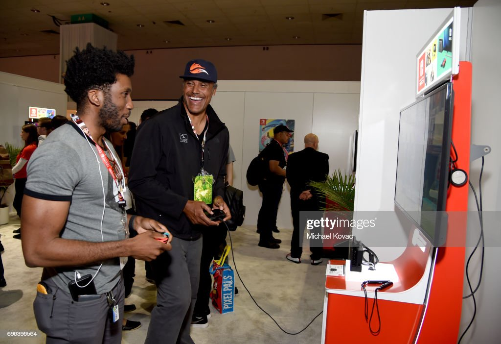 Actor Nyambi Nyambi and basketball player Rick Fox visit the Nintendo booth at the 2017 E3 Gaming Convention at Los Angeles Convention Center on June 15, 2017 in Los Angeles, California.