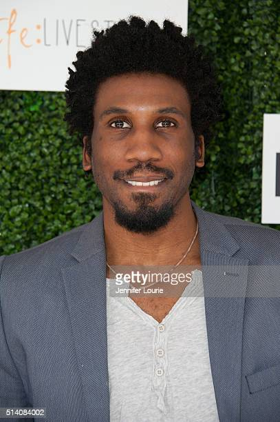 Actor Nyambi Nyambi arrives at the 2nd Annual LoveLife Fundraiser to support buildOn hosted by Travis Van Winkle at the Microsoft Lounge on March 6...