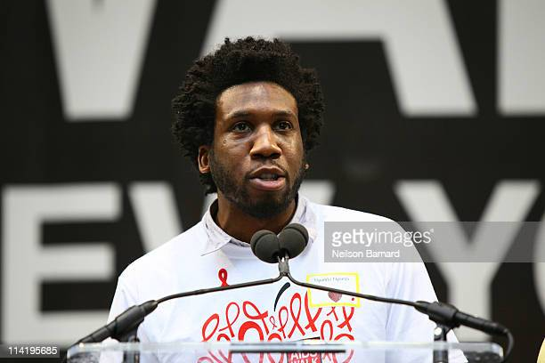Actor Nyambi Nyambi attends the 2011 AIDS Walk New York Opening Ceremony in Central Park on May 15 2011 in New York City