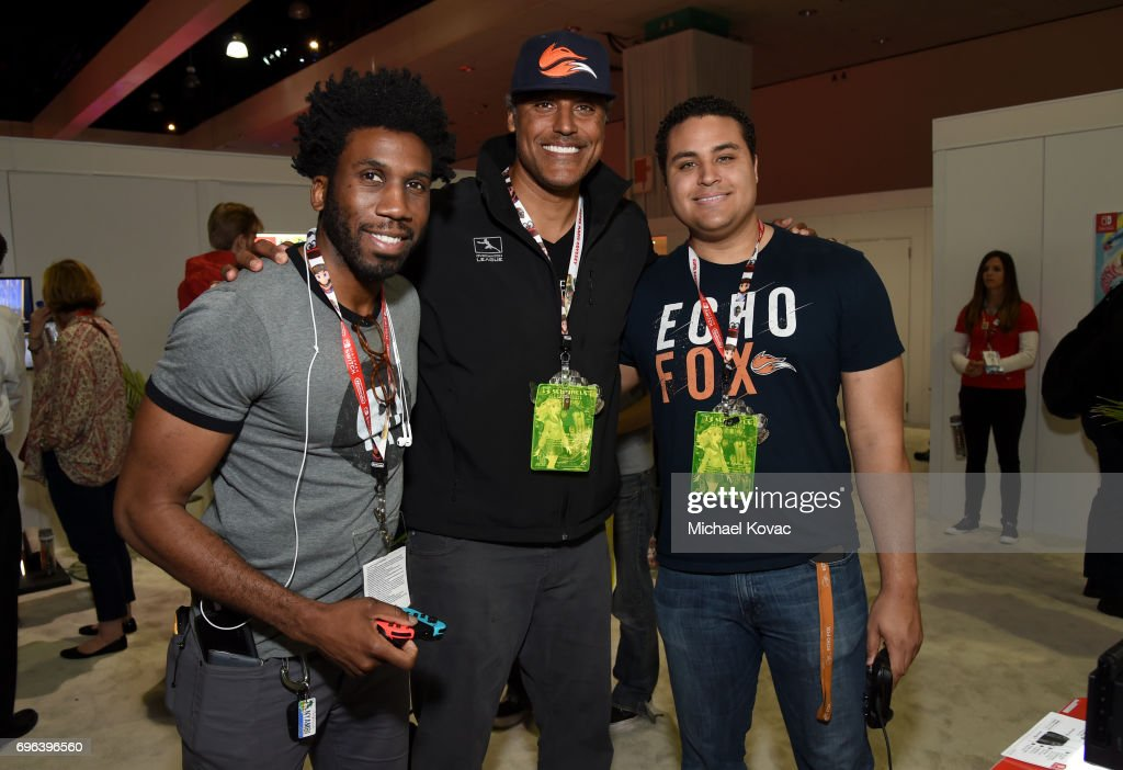 Actor Nyambi Nyambi, basketball player Rick Fox and Kyle Fox visit the Nintendo booth at the 2017 E3 Gaming Convention at Los Angeles Convention Center on June 15, 2017 in Los Angeles, California.