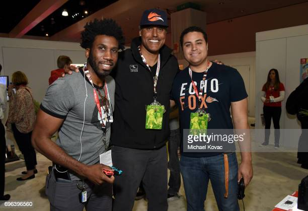 Actor Nyambi Nyambi basketball player Rick Fox and Kyle Fox visit the Nintendo booth at the 2017 E3 Gaming Convention at Los Angeles Convention...