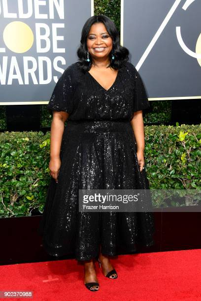 Actor Octavia Spencer attends The 75th Annual Golden Globe Awards at The Beverly Hilton Hotel on January 7 2018 in Beverly Hills California