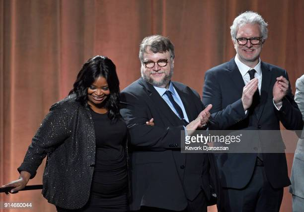 Actor Octavia Spencer filmmaker Guillermo del Toro and visual effects artist Ben Morris attend the 90th Annual Academy Awards Nominee Luncheon at The...