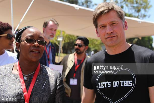 Actor of Game of Thrones Nikolaj CosterWaldau meets with Sicily K Kariuki Kenyan Cabinet Secretary for Public Service Youth and Gender Affairs as he...