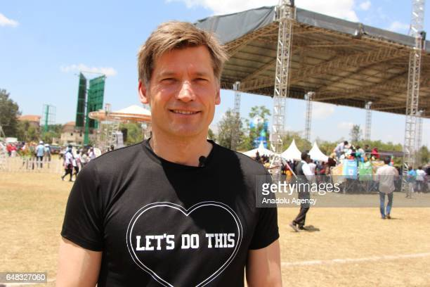 Actor of Game of Thrones Nikolaj CosterWaldau poses for a photo as he referees during Global Goals World Cup women's soccer tournament as the newest...