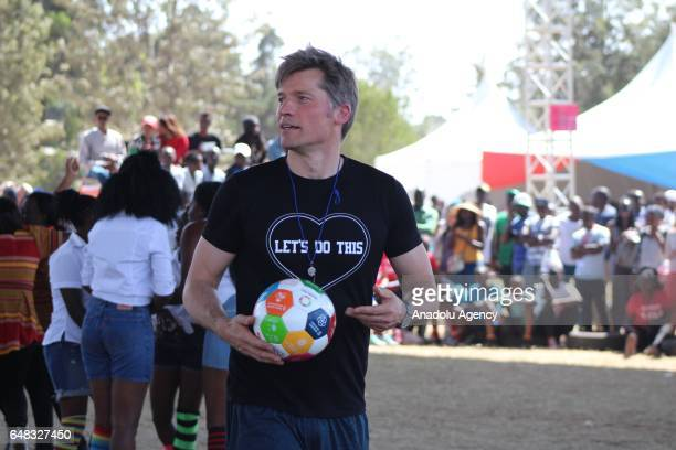 Actor of Game of Thrones Nikolaj CosterWaldau referees during Global Goals World Cup women's soccer tournament as the newest UN Development Programme...