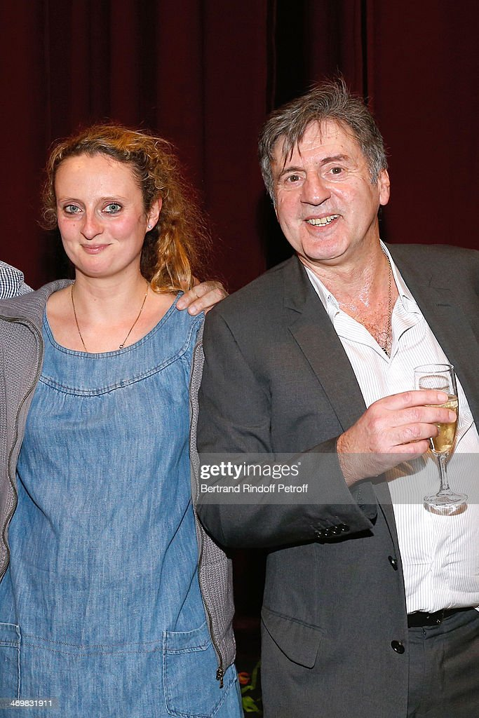 Actor of the drama Daniel Auteuil (R) with his daughter actress Aurore Auteuil after the last theater play of 'Nos Femmes' at 'Theatre de Paris' on February 16, 2014 in Paris, France. With 150 performances for 160000 spectators, this drama made a 'complete gauge' and has been the triumph of 2013.