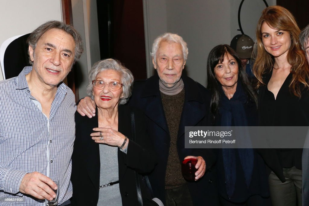 Actor of the drama Richard Berry (L) with his wife Pascale Louange (R), his sister Marie Berry (2nd R) and his parents (2nd and 3rd L) pose after the last theater play of 'Nos Femmes' at 'Theatre de Paris' on February 16, 2014 in Paris, France. With 150 performances for 160000 spectators, this drama made a 'complete gauge' and has been the triumph of 2013.