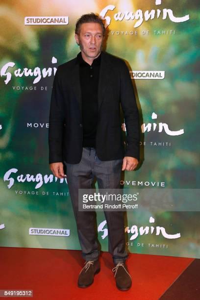 Actor of the movie Vincent Cassel attends the 'Gauguin Voyage de Tahiti' Paris Premiere at Cinema Gaumont Capucine on September 18 2017 in Paris...