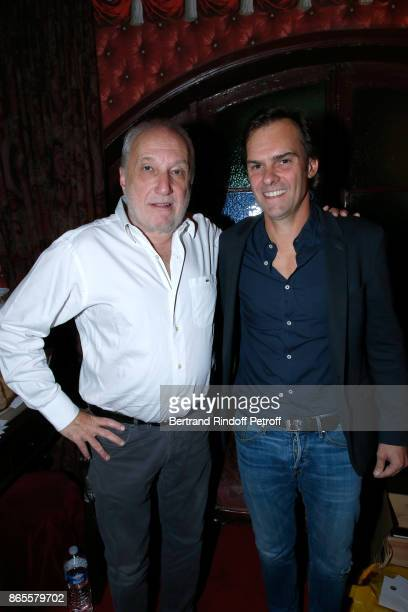 "Actor of the piece Francois Berleand and Autor of the piece, Sebastien Thiery attend the ""Ramses II"" Theater Play at Theatre des Bouffes Parisiens on..."