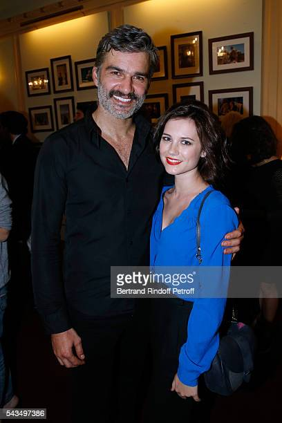 Actor of the Piece Francois Vincentelli and his wife Alice Dufour attend 'Du vent dans les branches de Sassafras' Theater Play Live on France 2 TV...