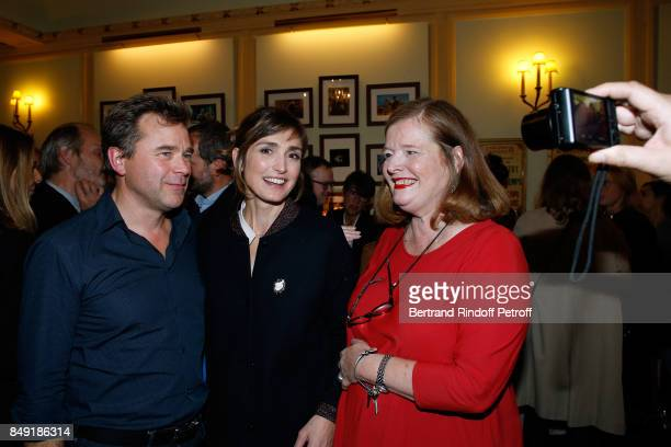 Actor of the piece Guillaume de Tonquedec actress Julie Gayet and actress of the piece Anne Benoit attend 'La vraie vie' Theater Play at Theatre...