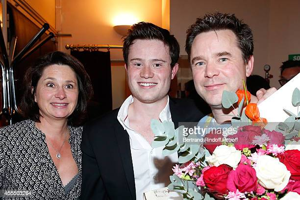Actor of the piece Guillaume de Tonquedec his wife Christelle and their son Amaury pose after 'Un diner d'adieu' Premiere Held at Theatre Edouard VII...