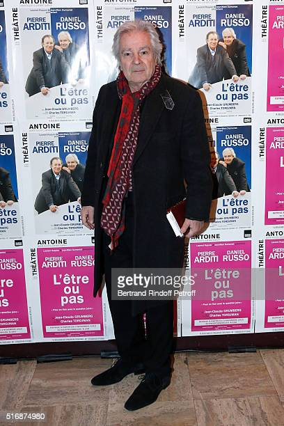 Actor of the Piece Pierre Arditi attends the 'L'Etre ou pas' Theater play at Theatre Antoine on March 21 2016 in Paris France