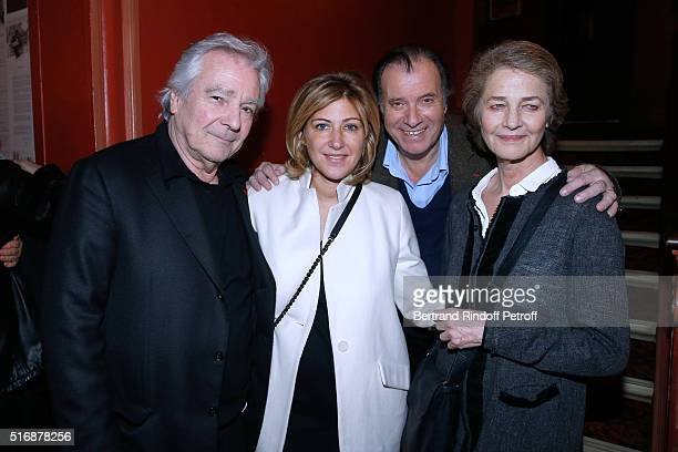 Actor of the Piece Pierre Arditi Autor Amanda Sthers Actor of the Piece Daniel Russo and Actress Charlotte rampling attend the L'Etre ou pas Theater...