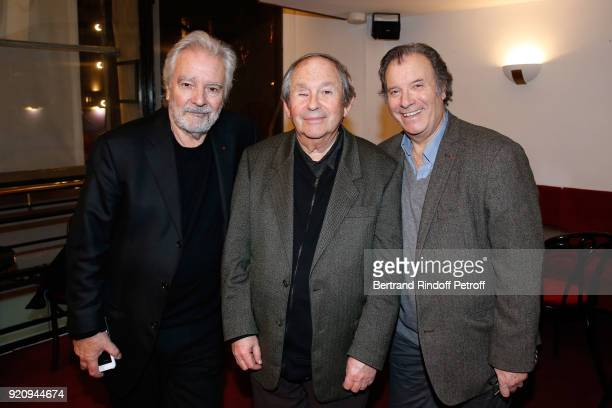 Actor of the Piece Pierre Arditi Autor of the Piece JeanClaude Grumberg and Actor of the Piece Daniel Russo attend the 'L'Etre ou pas' Theater Play...
