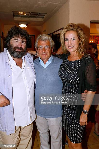 Actor of the piece Pierre Forest Artistic Director of the Festival Michel Boujenah and actress Natacha Amal after Le Roi se meurt on the last day of...