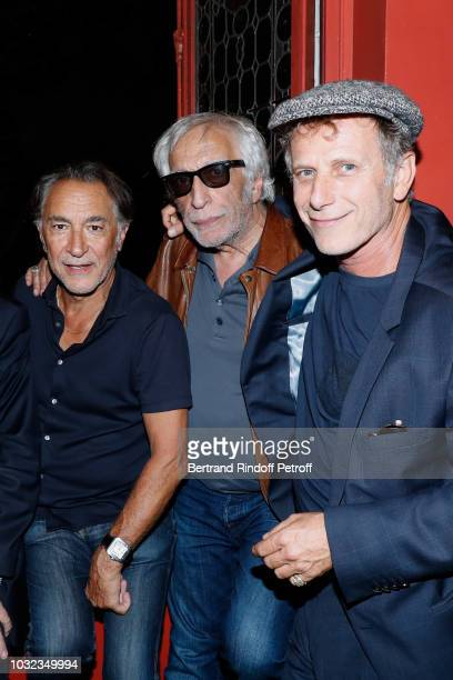 Actor of the Piece Richard Berry actors Gerard Darmon and Charles Berling attend the Plaidoiries Theater Play Runthrough at Theatre Antoine on...