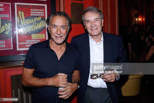 Actor of the Piece Richard Berry and CEO of Artmedia Bertrand de Labbey attend the Plaidoiries Theater Play Runthrough at Theatre Antoine on...