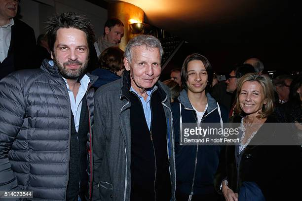 Actor of the play Patrick Poivre d'Arvor his son Arnaud Poivre d'Arvor his grandson Jeremy and Journalist Claire Chazal attend the 'Garde Alternee'...