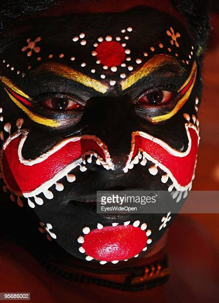 Actor of the traditional temple dance drama Kathakali on December 16 2009 in Varkala near Trivandrum Kerala India Kathakali is one of South Indias...