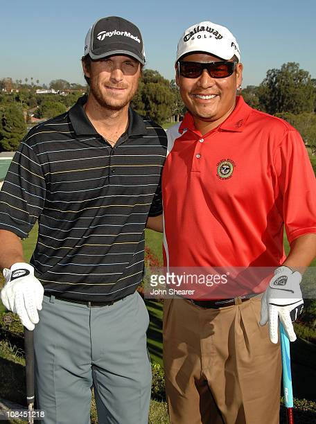 Actor Oliver Hudson and pro golfer Notah Begay attend the Callaway Golf Foundation Challenge benefitting the Entertainment Industry Foundation cancer...