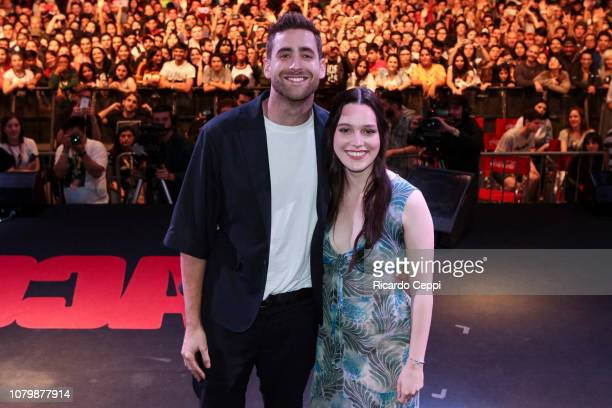 Actor Oliver JacksonCohen and actress Victoria Pedretti pose as part of the The Haunting of Hill House panel during day 3 of Argentina Comic Con 2018...