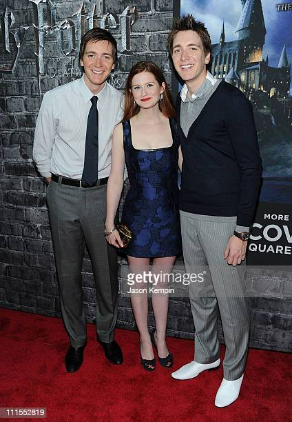 Actor Oliver Phelps actress Bonnie Wright and actor James Phelps attend the grand opening of Harry Potter The Exhibition at Discovery Times Square...