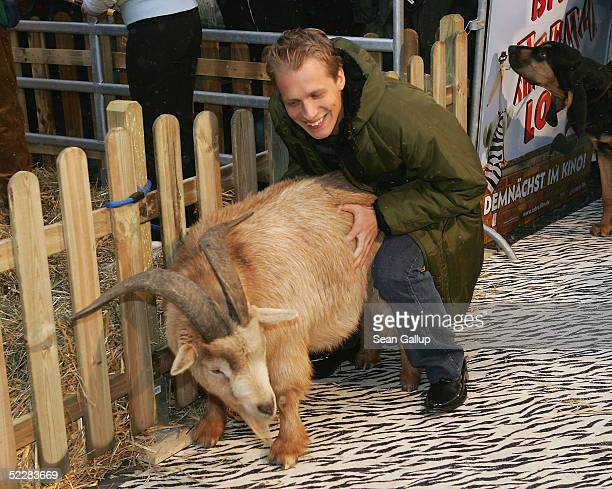 """Actor Oliver Pocher clowns with a goat at the German premiere of """"Racing Stripes"""" on March 6, 2005 in Berlin, Germany."""