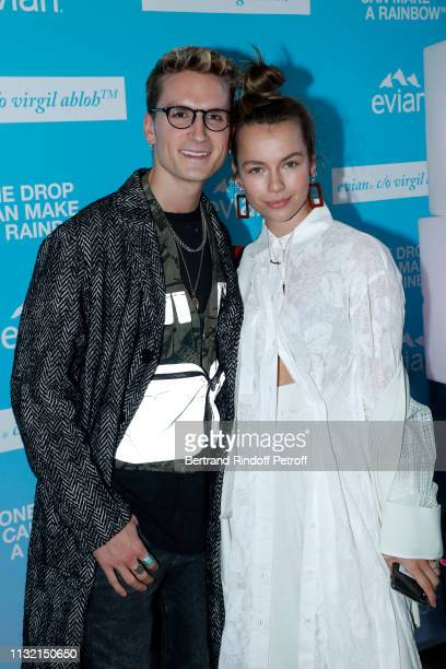 """Actor Oliver Proudlock and Influencer Emma Louise Connolly attend the launch of Evian and Virgil Abloh's limitededition """"One Drop can make a Rainbow""""..."""