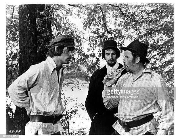 """Actor Oliver Tobias and actor Eli Wallach on set of the movie """"Romance of a Horsethief"""" in 1971."""
