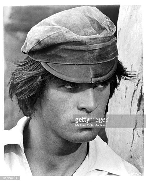 Actor Oliver Tobias on set of the movie Romance of a Horsethief in 1971
